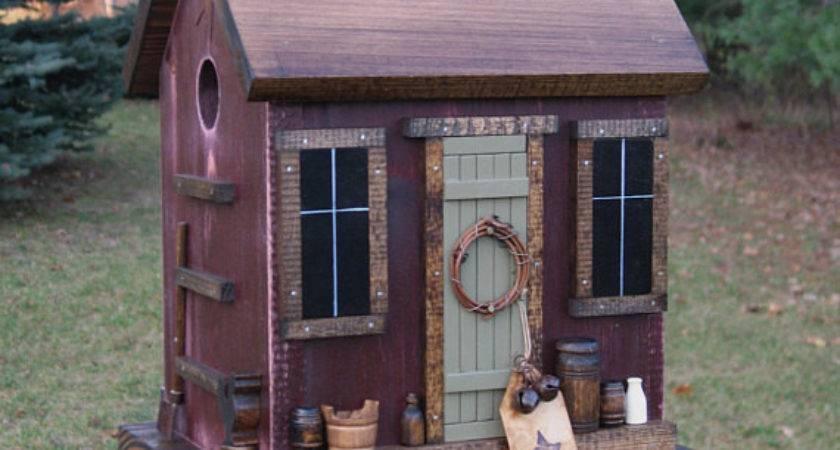 Folk Art Primitive Saltbox House Antique Red Birdhouse Nest