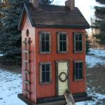 Folk Art Primitive Saltbox House Rustic Orange Birdhouse