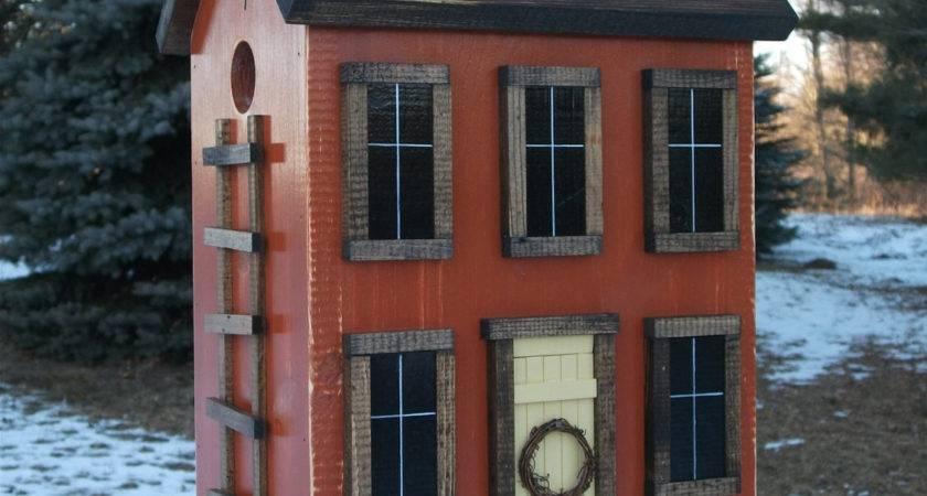 Folk Art Primitive Saltbox House Rustic Orange Birdhouse