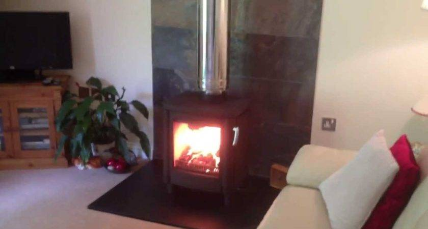 Freestanding Wood Log Stove Chimney Youtube