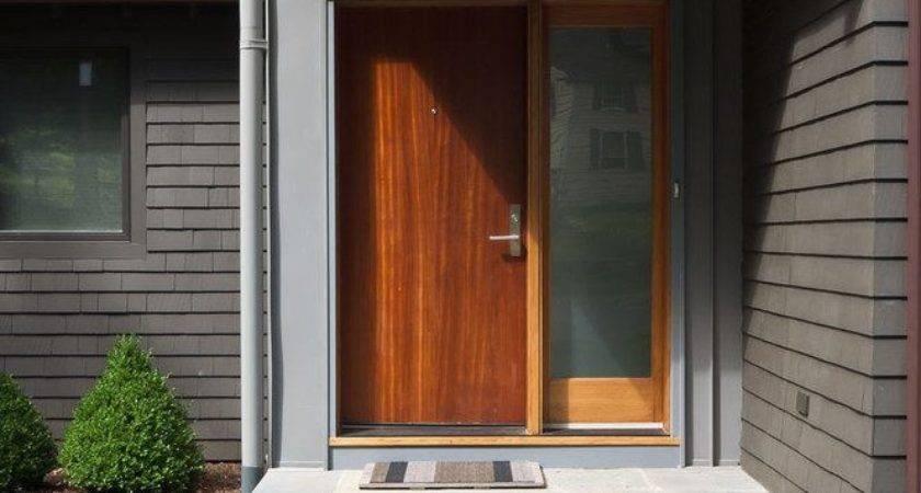 Front Door Steps Ideas Modern Wood Overhang