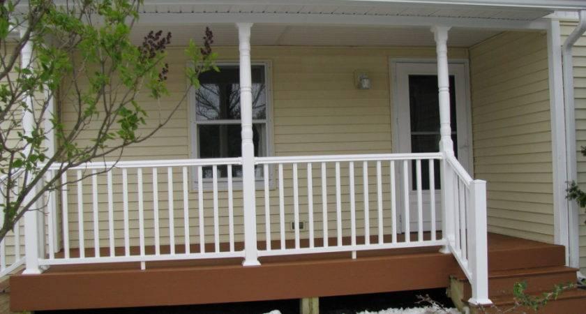 Front Porch Design Idea Beige Siding Wall