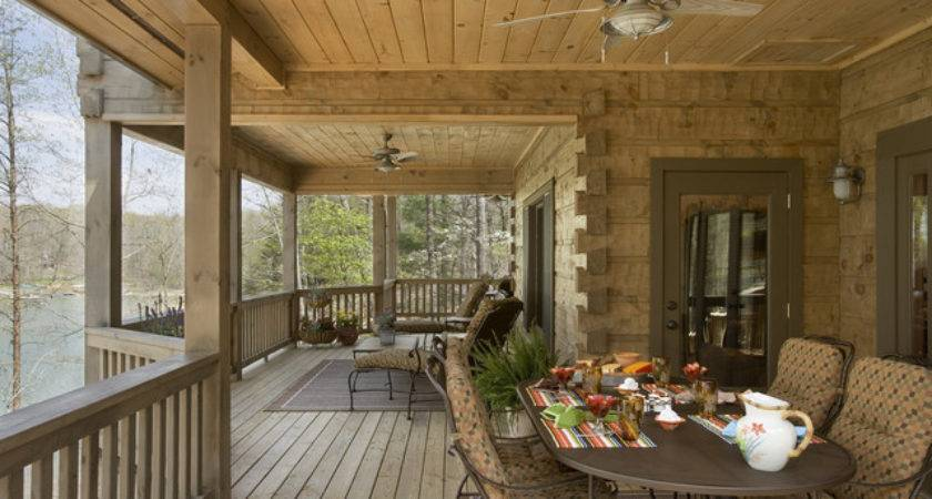 Front Porch Exterior Rustic Log Timber Home