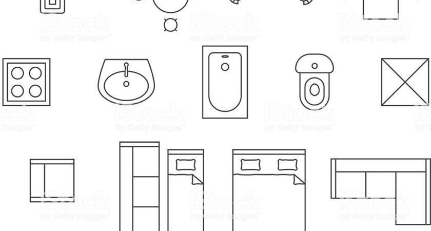 Furniture Linear Vector Symbols Floor Plan Icons Set
