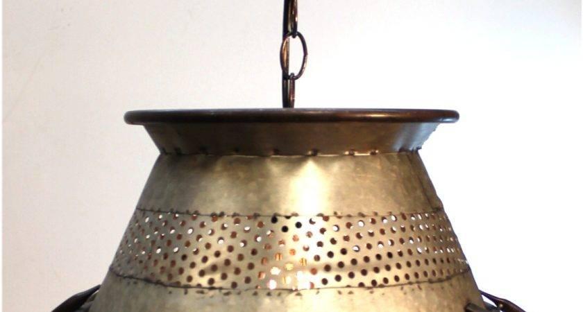 Galvanized Tin Colander Pendant Light Big Diameter