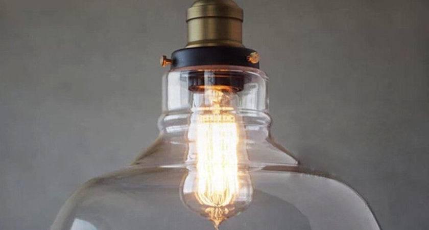 Glass Ceiling Light Vintage Chandelier Pendant Edison Lamp