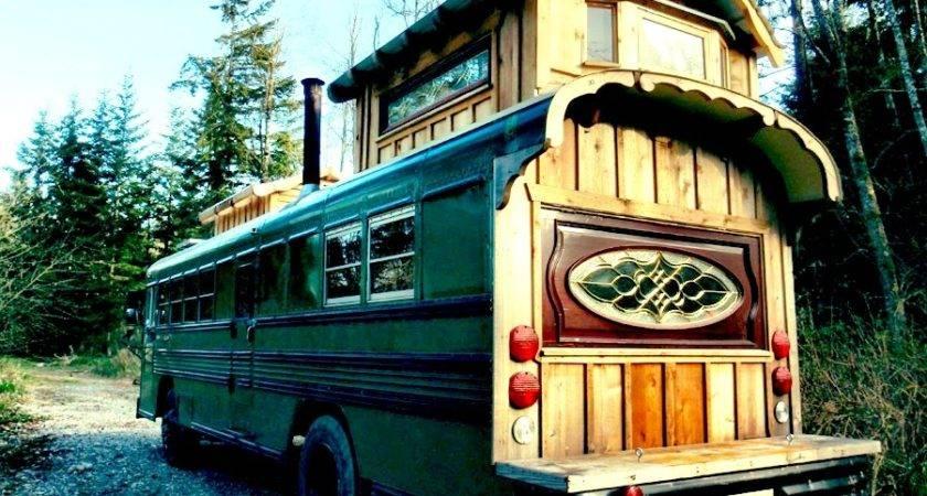 Green Cedar Bus Tiny House Swoon