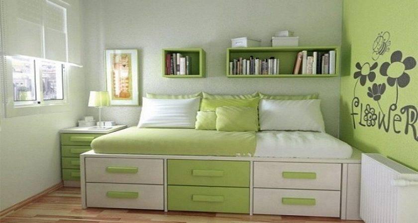 Green Modern Teenage Girls Bedroom Design Ideas Small