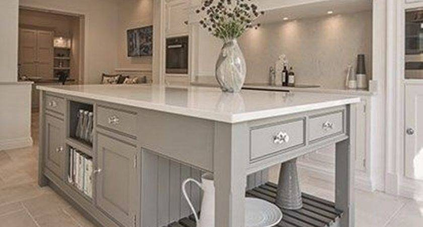Grey Wooden Island Using Perfect Shelves Chic Soft