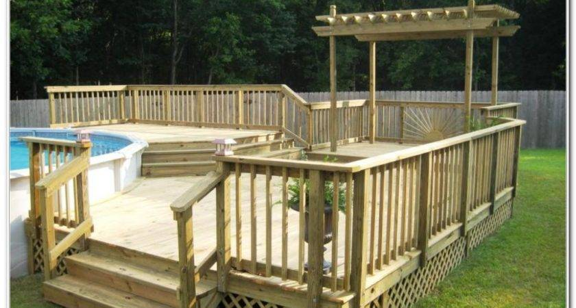 Ground Pool Deck Plans Decks Home Decorating