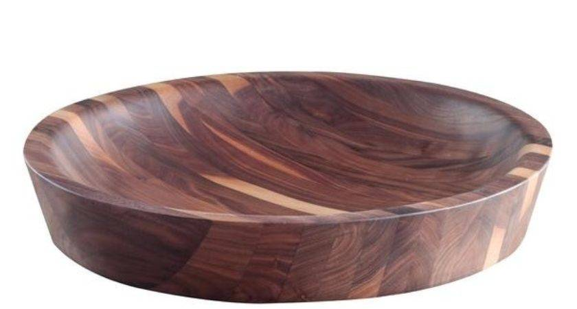Hand Carved Low Bowl Black Walnut Wooden Palate