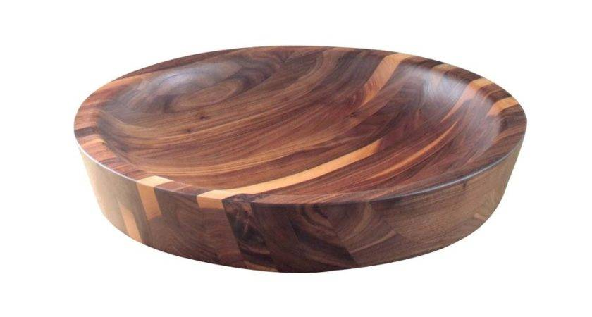 Hand Carved Low Bowl Fumed Oak Wooden Palate Monc Xiii