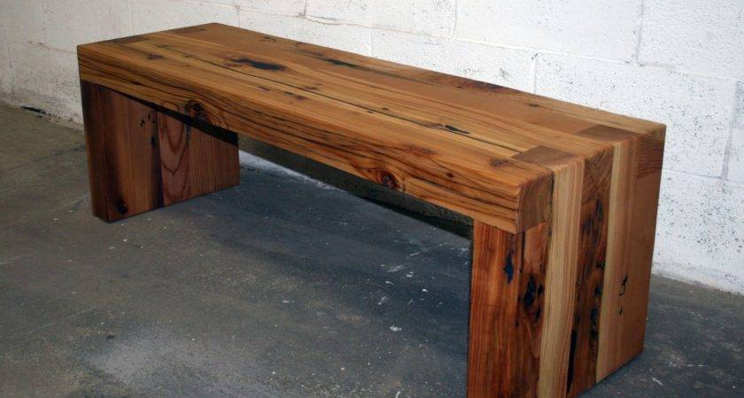 Hand Made Reclaimed Cedar Box Joint Bench Coffee Table