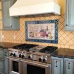 Hand Painted Tile Backsplash Kitchen Cabinet Hardware
