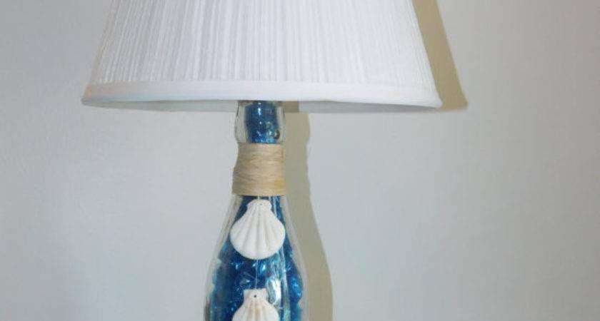 Handmade Beach Themed Bottle Lamp Seahorse Shells