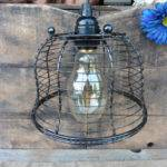 Hanging Black Metal Wire Basket Pendant Light Fixture