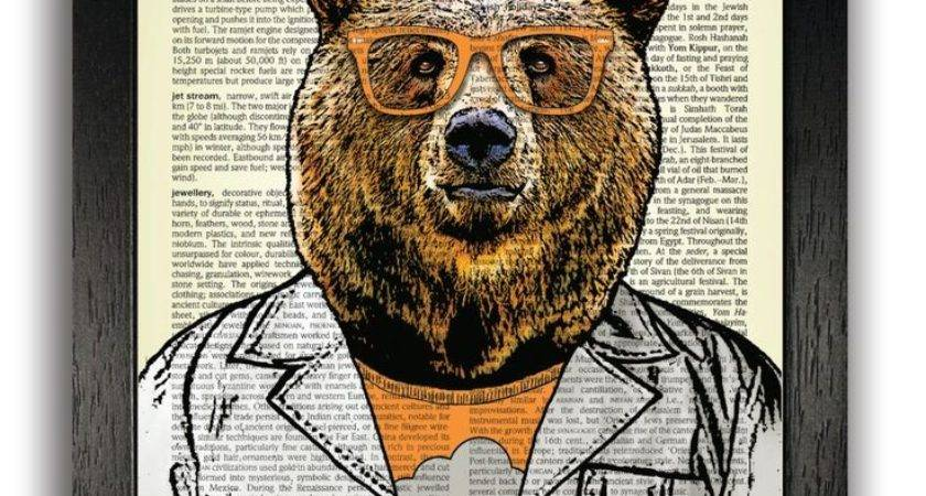 Hipster Scientist Bear Art Print Wall Decor