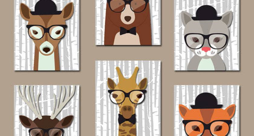 Hipster Woodland Animals Wall Art Baby Boy Nursery Canvas
