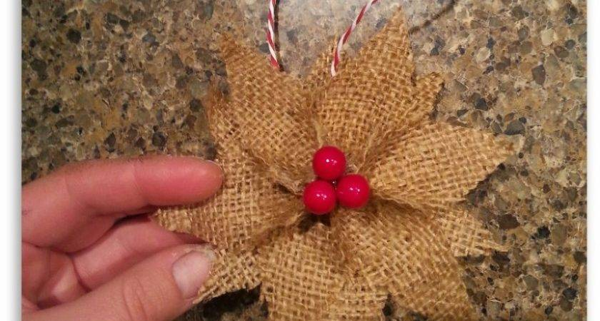 Hometalk Make Burlap Poinsettia Christmas Ornaments