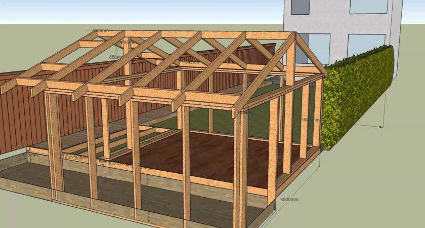 House Garden Shed Frame Deck Roof