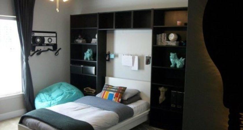 Ikea Teen Boys Bedroom Bookshelves Bed