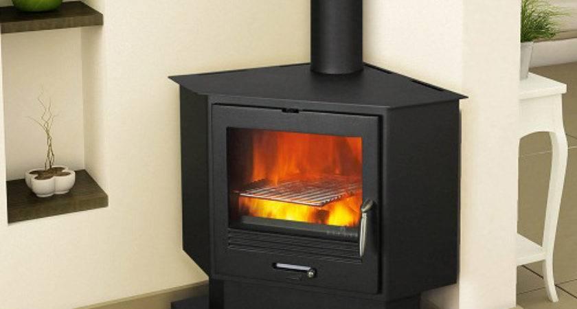 Impressive Corner Wood Burning Fireplace