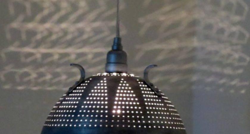 Industrial Lace Colander Pendant Light Remodelista