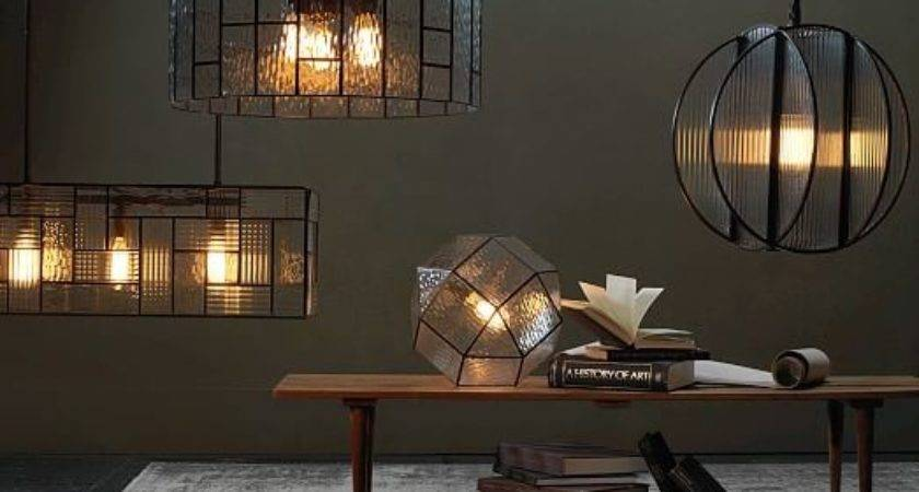 Industrial Textured Glass Pendant Circle West Elm