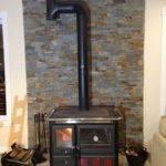 Inspiring Rear Vent Wood Stove Through Masonry Fireplace