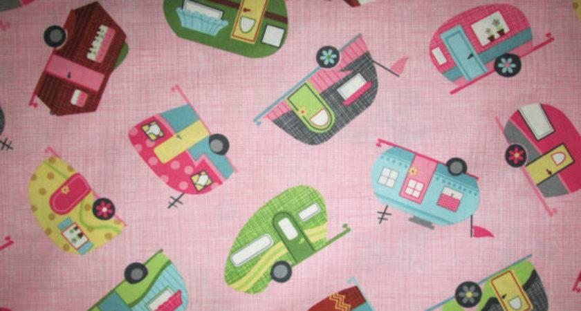 Items Similar Vintage Trailer Retro Camper Pink Cotton