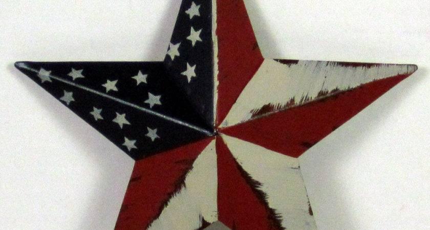 July American Flag Barn Star Primitive Americana Metal