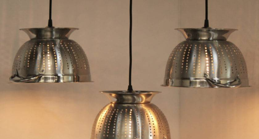 Kitchen Colander Pendant Light Designs