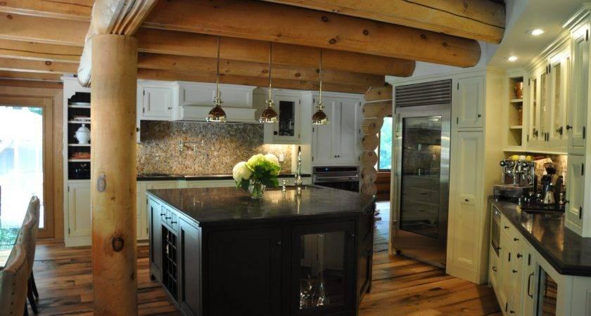 Kitchen Log Cabin Kitchens Design Ideas Black Wooden Cabi