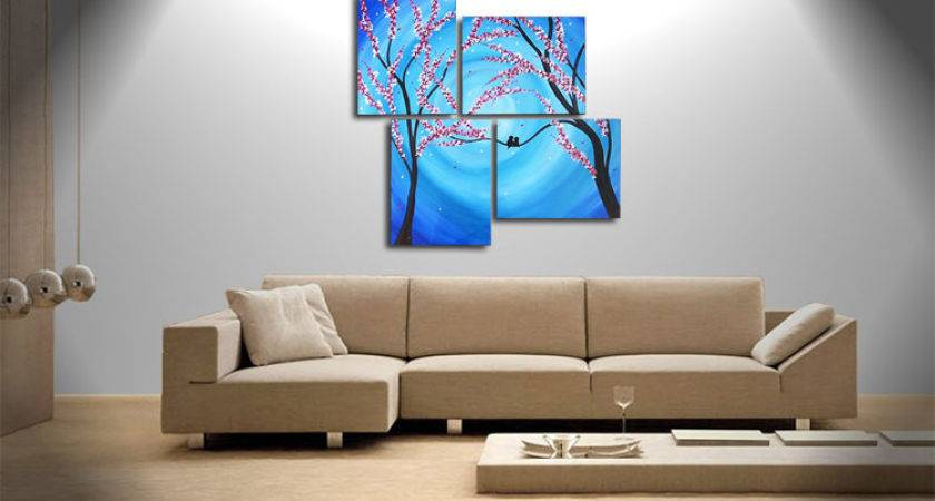 Large Blue Painting Cherry Blossoms Love Birds