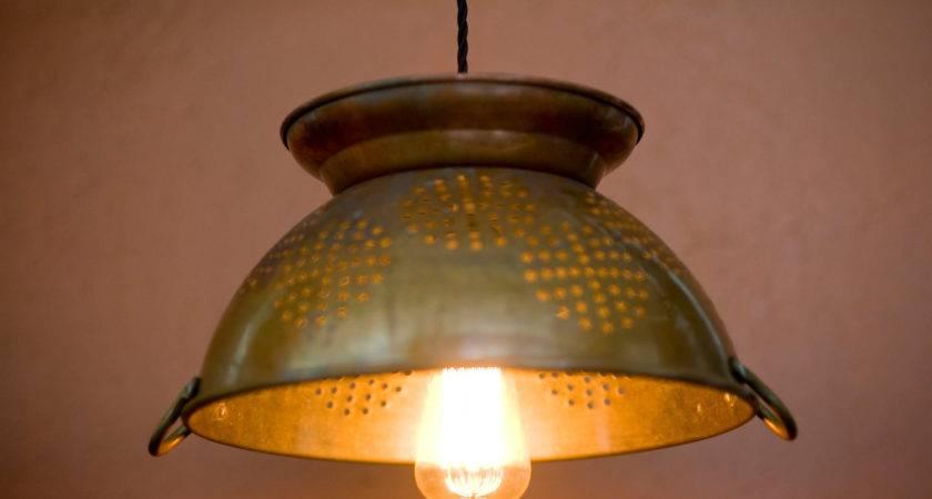 Large Copper Colander Pendant Light Filafix Etsy