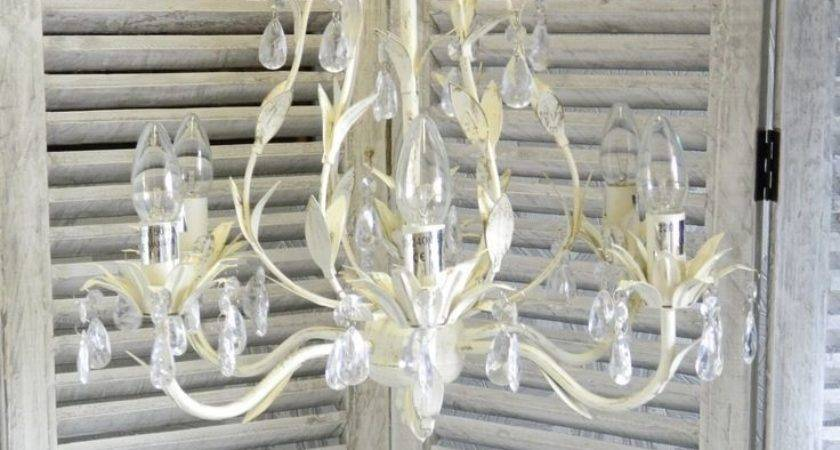 Large Cream Chandelier Shabby Vintage Chic Ceiling