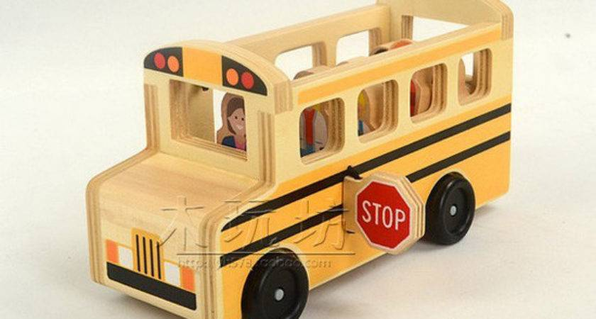 Large Scale Wood Kids Yellow School Bus Toy