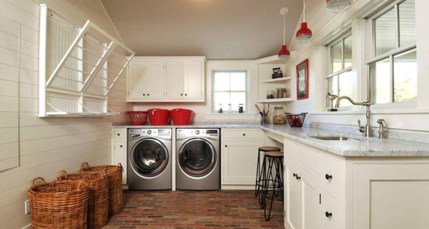 Laundry Room Brick Floor Country