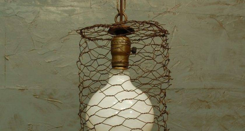 Let Stay Chicken Wire Glass Light Fixtures