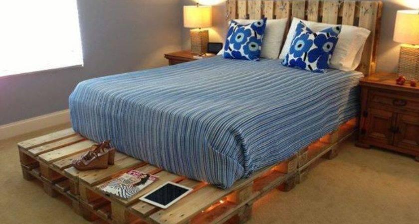 Light Pallets Bed Diy Home Design Garden
