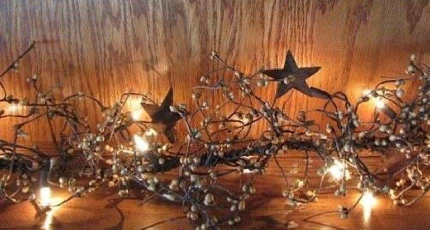 Lighted Gold Pip Berry Star Garland Primitive