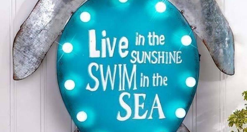 Lighted Turtle Metal Coastal Wall Sign Sculpture Sea Life