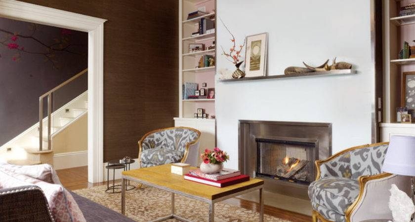Living Room Beautiful Fireplace Contemporary
