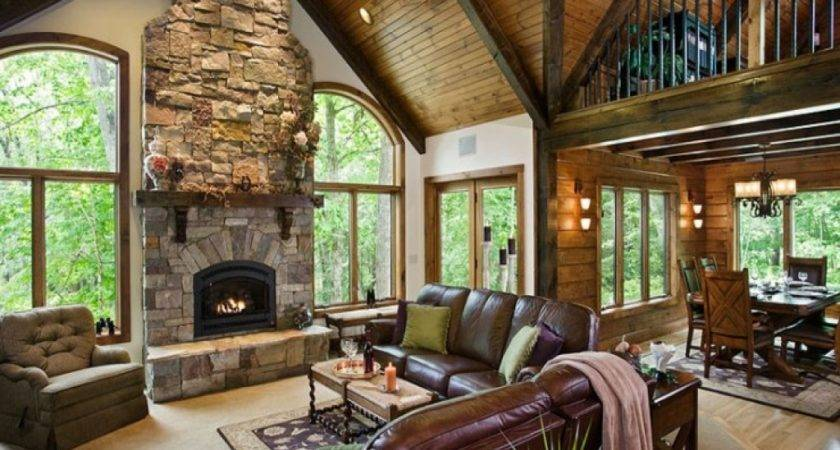 Living Room Ideas Log Home Great Curtains