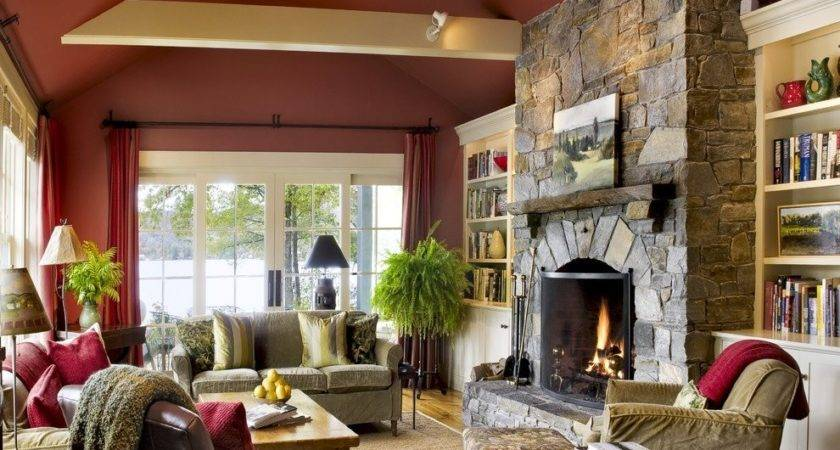 Living Room Stone Fireplace