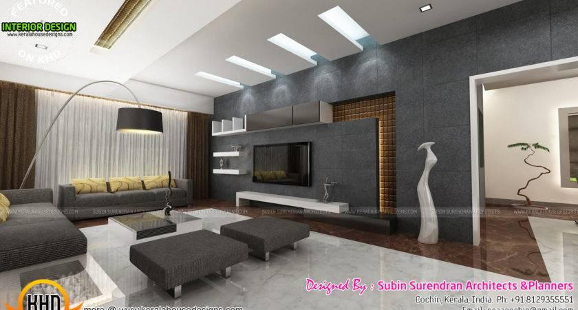 Living Rooms Modern Kitchen Interiors Kerala