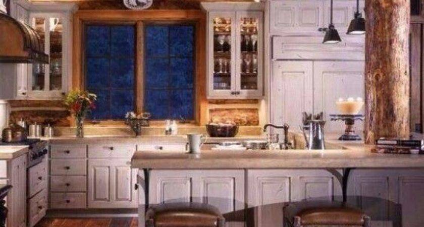 Log Cabin Kitchen Love Distressed White Cabinets