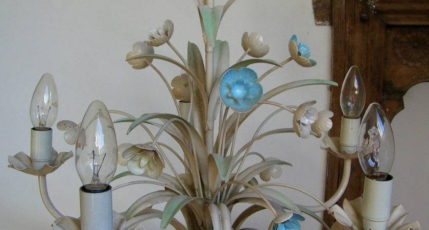 Lovely Vintage Shabby Chic Flowers Italian Tole Ceiling