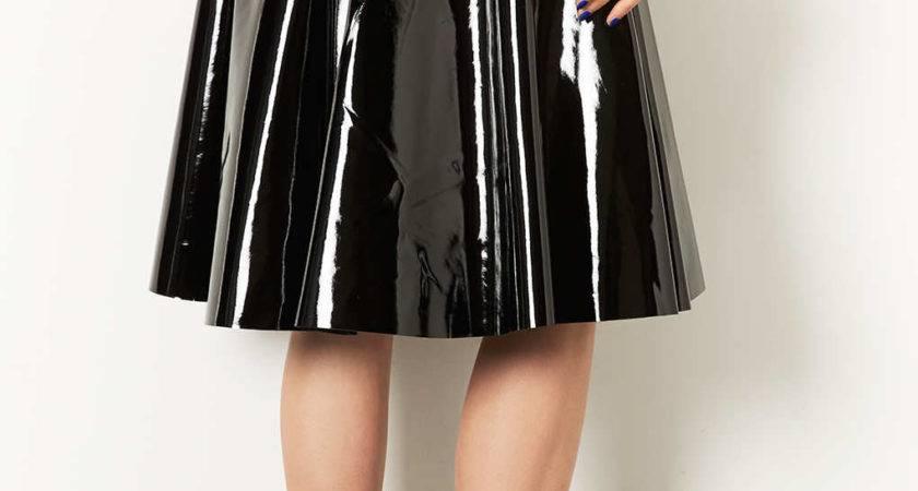Lyst Topshop Vinyl Calf Skater Skirt Black