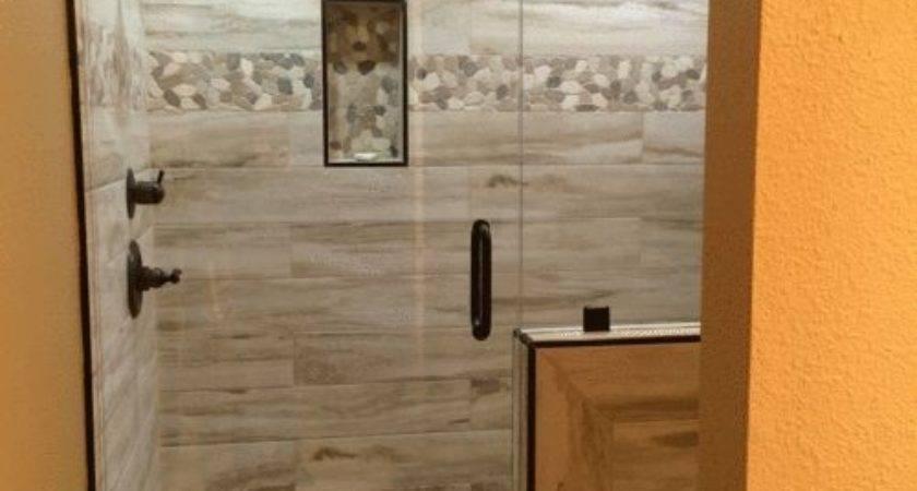 Master Shower Wood Plank Tile Flat River Rock Deco